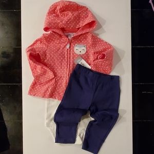 Carter's Baby Girl/Toddler 3 Piece Outfit Set